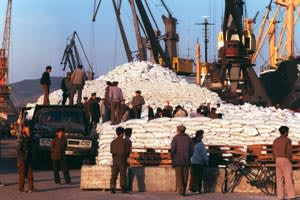 UN wheat arriving in North Korea in May 1999, at the end of the famine