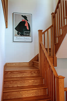 Staircase with specially chosen wood