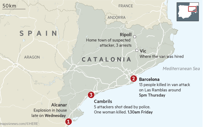 Terror Suspects Killed In Spanish Resort After Barcelona Attack