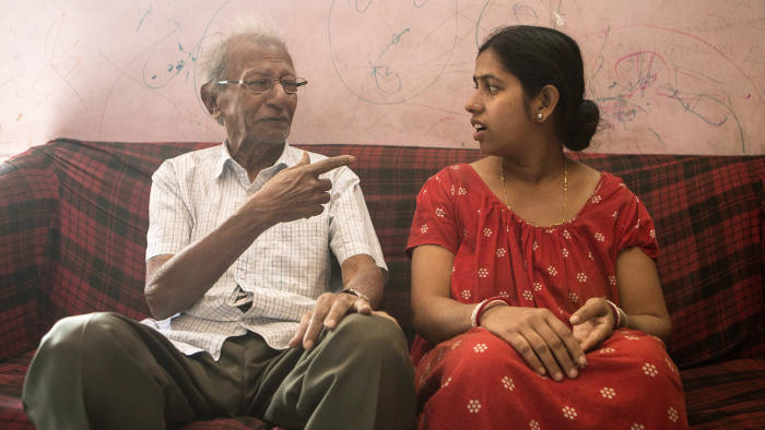 Seasonal Appeal, Alzheimer's Research, UK, Alzheimer's sufferers in Calcutta, Kolkata, India - Dilip Sarkar, and his maid, Radha Gharami, who is 35, and takes care of him. (his only daughter lives in Canada)