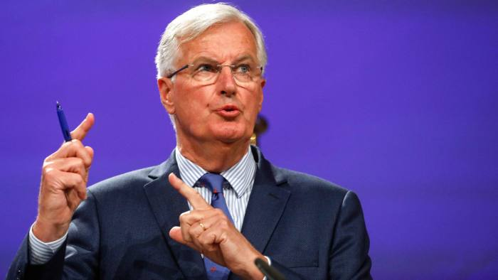 """Michel Barnier, chief negotiator for the European Union (EU), gestures while speaking during a news conference following the third round of Brexit talks in Brussels, Belgium, on Thursday, Aug. 31, 2017. Barnier said Brexit talks are """"far"""" from making the progress that's needed to move on to trade talks, as three days of negotiations produced few results. Photographer: Dario Pignatelli/Bloomberg"""