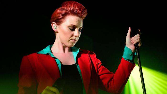 LONDON, UNITED KINGDOM - JULY 01: Elly Jackson of La Roux performs the group's first London gig in four years at Conway Hall on July 1, 2014 in London, United Kingdom. (Photo by Gus Stewart/Redferns via Getty Images)
