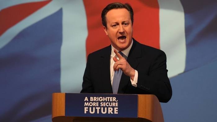SWINDON, ENGLAND - APRIL 14: Prime Minister David Cameron unveils the Conservative party manifesto on April 14, 2015 in Swindon, England. The Conservatives have launched their election manifesto with a promise to extend the right to buy housing scheme for housing association tenants living in England. (Photo by Peter Macdiarmid/Getty Images)
