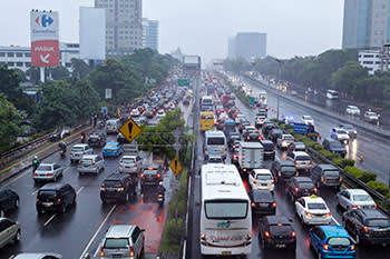 Early morning traffic on the main toll road heading into central Jakarta