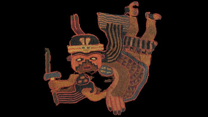 These 2000-year-old textiles fragments are made of alpaca or llama wool and would originally have been part of a cloak. They depict flying shamans grasping human heads in their talons. The figure pictured above carries a knife used to behead his victim. They were found wrapped around mummified bodies in the great Paracas Necropolis in Peru. They were featured in the BBC and British Museum collaboration A History of the World in 100 Objects.