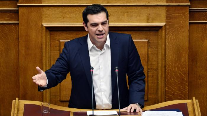 Alexis Tsipras, Greece's prime minister, addresses parliament in Athens