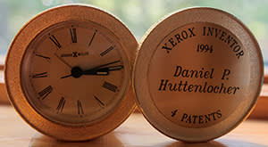 A clock to commemorate Huttenlocher's Xerox patents