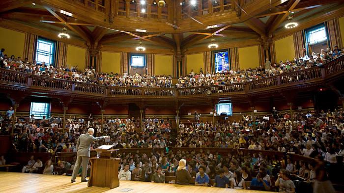 (Cambridge, MA - September 15, 2008) Moral Reasoning 22: Justice, taught by Professor Michael Sandel inside Sanders Theatre at Harvard University. Staff Photo Justin Ide/Harvard News Office