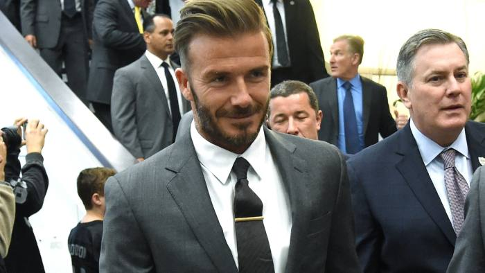 LAS VEGAS, NV - APRIL 28:  Former soccer player David Beckham arrives at a Southern Nevada Tourism Infrastructure Committee meeting with Oakland Raiders owner Mark Davis (not pictured) at UNLV on April 28, 2016 in Las Vegas, Nevada. Davis told the committee he is willing to spend USD 500 million as part of a deal to move the team to Las Vegas if a proposed USD 1.3 billion, 65,000-seat domed stadium is built by casino magnate Sheldon Adelson's Las Vegas Sands Corp. and real estate agency Majestic Realty, possibly on a vacant 42-acre lot a few blocks east of the Las Vegas Strip recently purchased by UNLV.  (Photo by Ethan Miller/Getty Images)