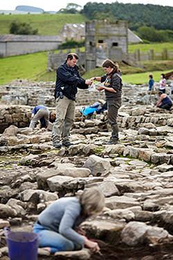 Archaeologist Andrew Birley with volunteers at Vindolanda