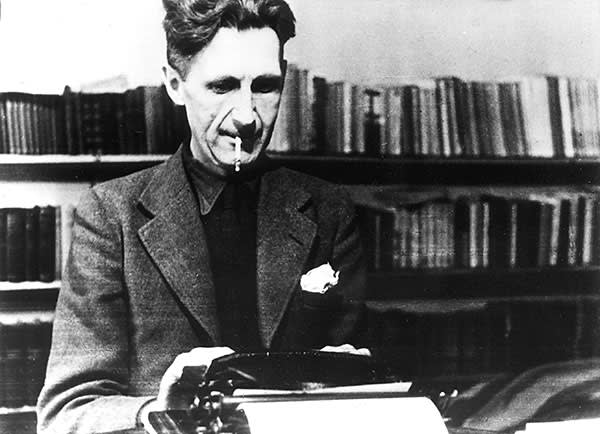 Orwell at work, also in the 1940s