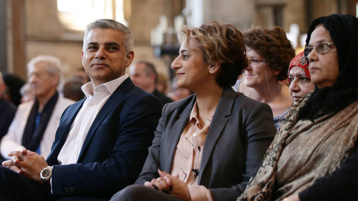 Sadiq Khan and wife Saadiya attend an official signing ceremony at Southwark Cathedral as he begins his first day as newly elected Mayor of London on May 7, 2016 in London, England