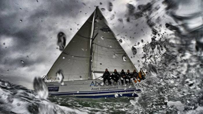 Aberdeen Asset Management Cowes Week - Alternative View...COWES, ENGLAND - AUGUST: (EDITOS NOTE: This image was processed using digital filters) A general view during Aberdeen Asset Management Cowes Week on August, 2015 in Cowes, England. (Photo by Alan Crowhurst/Getty Images)