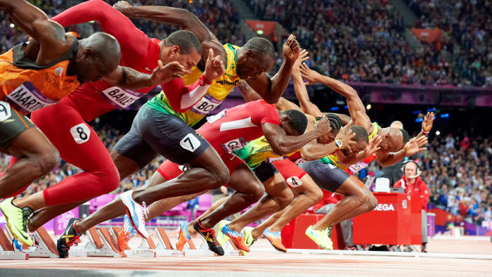 Jamaica's Usain Bolt (third left) sets an Olympic record in the men's 100m final in the 2012 Summer Olympics in London