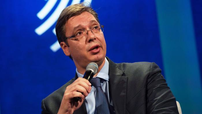 Serbian Prime Minister Aleksandar Vucic speaks during the Plenary Session II: Reconciliation and a Shared Society, at the Clinton Global Initiative September 20, 2016 in New York. / AFP / Bryan R. Smith (Photo credit should read BRYAN R. SMITH/AFP/Getty Images)