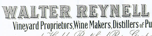 Lettering used by the 19th-century New Zealand viticulturist Walter Reynell