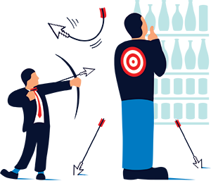 Illustration by Francesco Ciccolella of an adman targeting a consumer