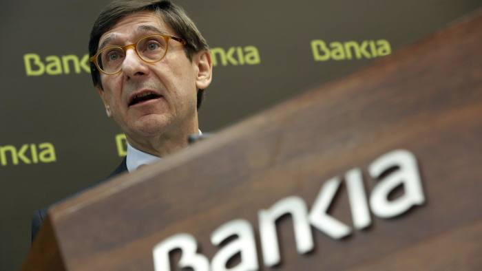 Bankia's Executive Chairman Jose Ignacio Goirigolzarri speaks during a news conference to present their 2014 results in Madrid February 28, 2015. Spanish lender Bankia reported annual profit hurt by provisions put aside to cover potential compensation claims linked to its 2011 stock market listing which was followed one year later by a state bail-out. REUTERS/Susana Vera (SPAIN - Tags: BUSINESS POLITICS HEADSHOT)