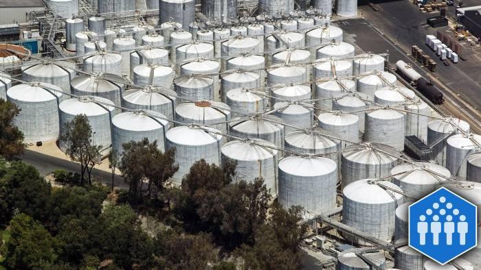 B4KMTN aerial above Gallo wine storage containers Modesto, California