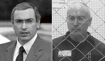 Khodorkovsky as a free man, left, and during a partially successful appeal for a reduced sentence at Russia's Supreme Court on August 6 2013