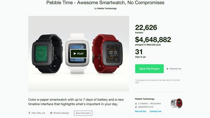 Pebble smart watch kickstarter page