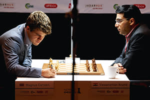 Viswanathan Anand plays Magnus Carlsen during the second round of the Norway Chess 2013