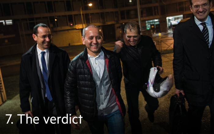 Ablyazov (second left) and lawyers, including Sahlas (right), celebrate his release from prison in Paris last year