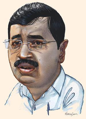 Illustration by James Ferguson of Arvind Kejriwal