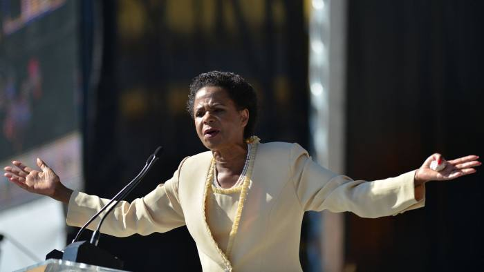 Mamphela Ramphele speaks at the launch of South Africa's  new opposition party called Agang
