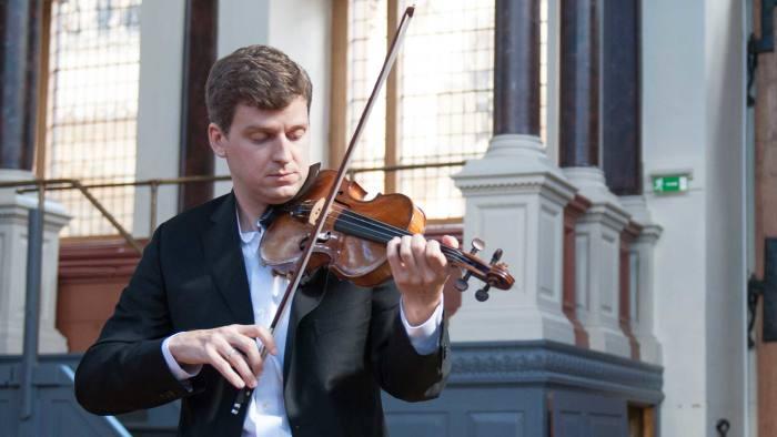 James Ehnes rehearses for his performance at the Sheldonian Theatre, he is using violins from the Stradivarius exhibition at the Ashmolean.