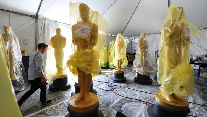 Oscar statues await transportation to the ceremony