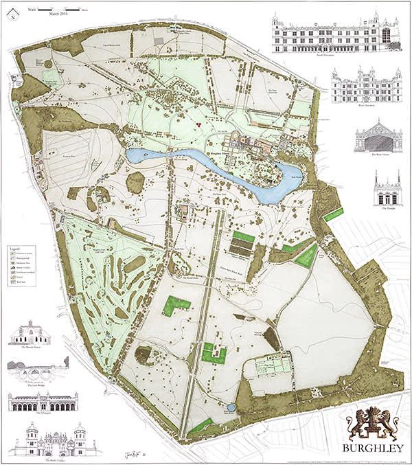 James Byatt's map of the Burghley House estate