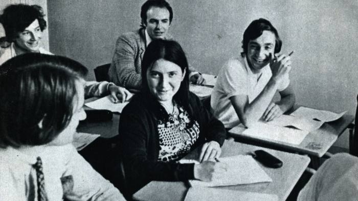 Joëlle Le Vourc'h, Joelle Le Vourc'h in class at ESCP Europe, oldest business school in France where she was the first female pupil in 1970 - this photo was taken in 1971