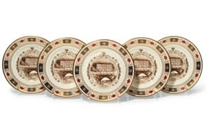 From a set of 12 Royal Crown derby plates to mark the Duke and Duchess's golden wedding anniversary