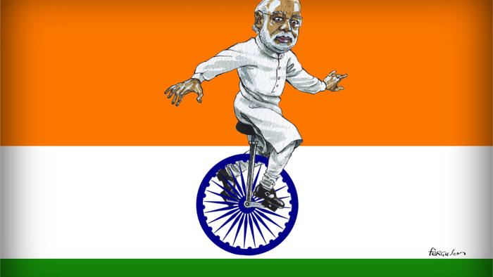 Illustration of Indian Prime Minister Narendra Modi on a unicycle