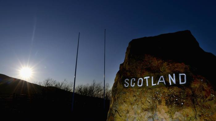 CARTER BAR, SCOTLAND - MARCH 12: A general view of the Scotland sign on the A68 on March 12, 2014 in Scotland. A referendum on whether Scotland should be an independent country will take place on Thursday 18 September 2014. (Photo by Jeff J Mitchell/Getty Images)