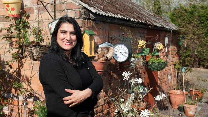 Jasvinder Sanghera, founder of the charity Karma Nirvana, in the garden of her Derbyshire home