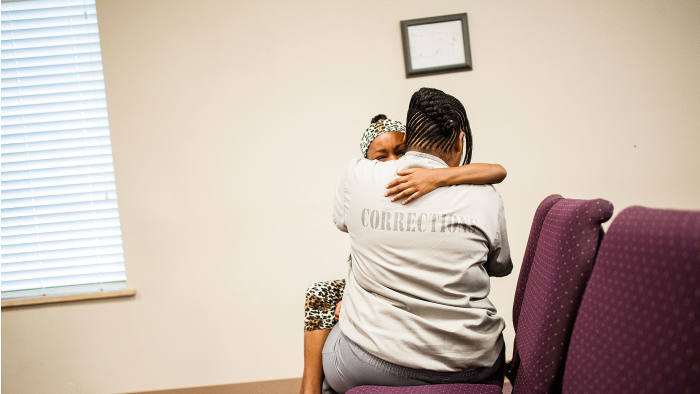 Shania with her mother, Tracie, at the correctional centre