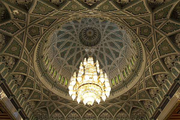 A 14m-tall crystal chandelier at Sultan Qaboos Grand Mosque, Oman