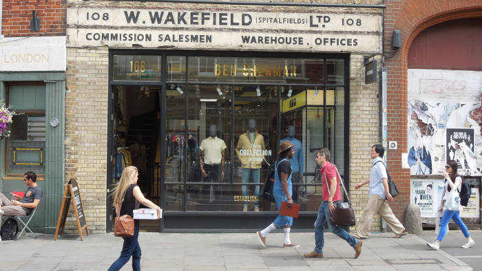 A clothing shop on Commercial Street, Shoreditch