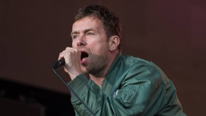 Damon Albarn of Blur on stage in Hyde Park