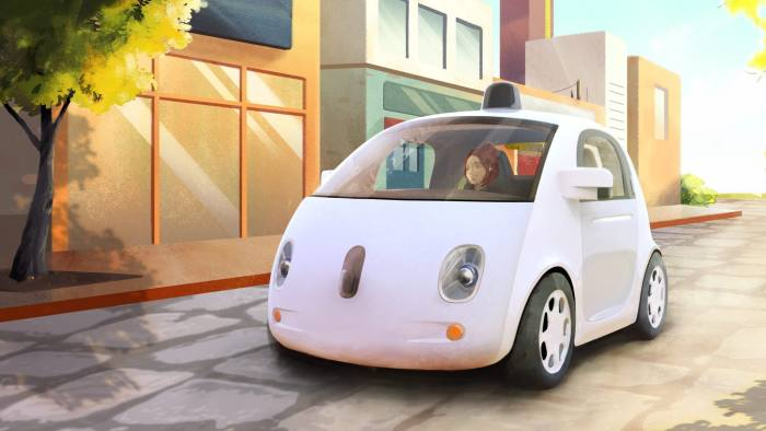 Artistic sketch of Google's prototype of a self-driving car