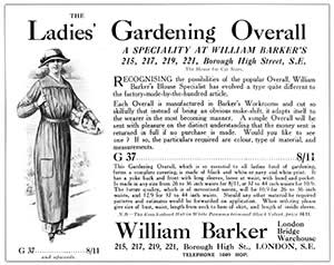 Ladies' overall advertisement from 1914