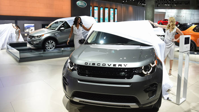 The Land Rover Discovery Sport versatile premium compact SUV is unveiled at the Los Angeles Auto Show media preview days, November 19, 2014 in Los Angeles, California