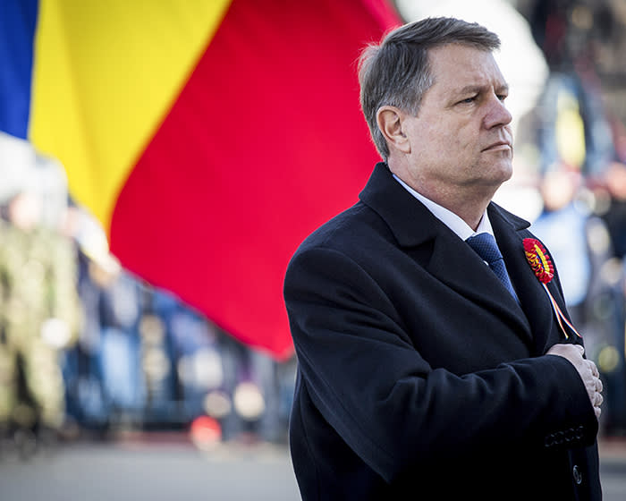 BUCHAREST, ROMANIA - DECEMBER 1: Romanian president Klaus Iohannis takes part in the Romanian National Day parade, Thursday, December 1st, 2016, in Bucharest, Romania. (Photo by Andrei Pungovschi/Anadolu Agency/Getty Images)