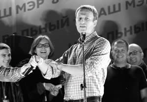 Opposition leader Alexei Navalny at a rally in Moscow, September 2013, after he finished second in elections for Moscow mayor