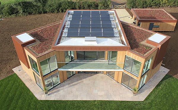 The Solar House, a £1m five-bedroom property in Leicestershire, where heat from the sun is stored underground for use in winter