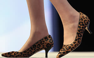 Theresa May's leopard-print kitten heels shoes