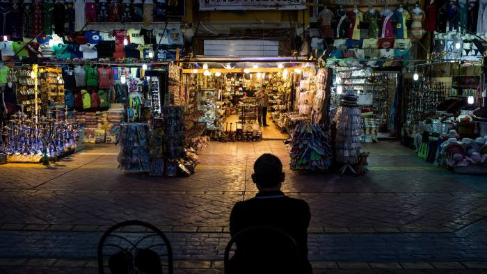 SHARM EL SHEIKH, EGYPT - APRIL 03: A shop owner waits for customers in the Old Market district on April 3, 2016 in Sharm El Sheikh, Egypt. Prior to the Arab Spring in 2011 some 15million tourists would visit Egypt each year. The resort town of Sharm El Sheikh was built around tourism however tourist numbers have plummeted after recent terrorist attacks with flights from major UK carriers being suspended and foreign offices around the world warning citizens of the 'High threat from terrorism' Sharm El Sheikh is almost a ghost town, with many resorts being abandoned and business forced to close. (Photo by Chris McGrath/Getty Images)