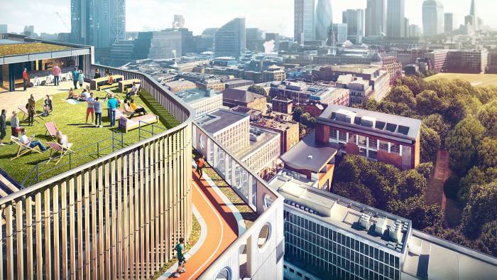 The White Collar Factory in London's Silicon Roundabout has planned for a rooftop running track and interiors like high-ceilinged lofts